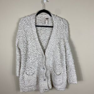 Free people white fuzzy cardigan
